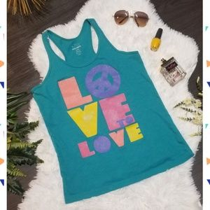 """Old Navy Teal """"Love to Love"""" Tank Top"""